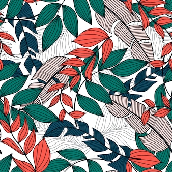 Abstract seamless pattern with colorful tropical leaves and plants on a light background