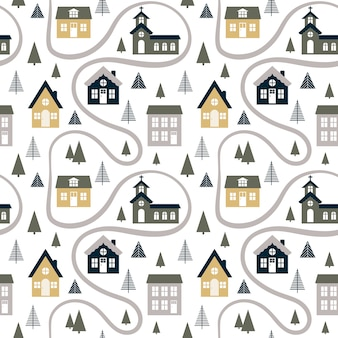 Abstract seamless pattern with cute houses, trees and road.