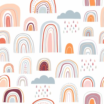 Abstract seamless pattern with decorative rainbows