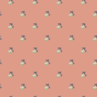 Abstract seamless pattern with decorative small blue island and tree palm print. pink pastel background. designed for fabric design, textile print, wrapping, cover. vector illustration.