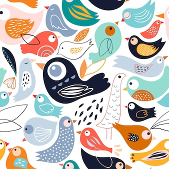 Abstract seamless pattern with different birds