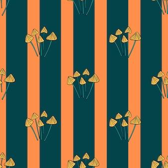 Абстрактный бесшовный паттерн с каракули печать грибов psilocybe semilanceata. полосатый фон. фондовый рисунок. векторный дизайн для текстиля, ткани, подарочной упаковки, обоев.