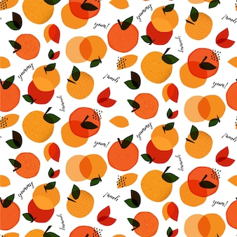 Abstract seamless pattern with fruits and words yum and yummy. hand drawn texture.