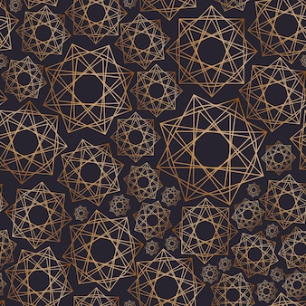 Abstract seamless pattern with geometric shapes drawn with golden contour lines on black background. geometrical ornamental backdrop. vector illustration for wrapping paper, fabric print, wallpaper