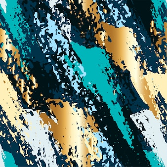 Abstract seamless pattern with golden brush