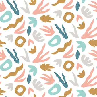 Abstract seamless pattern with hand drawn leaves and shapes.