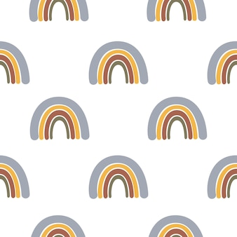 Abstract seamless pattern with hand drawn rainbow on white background