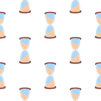 Abstract seamless pattern with hourglass in blue and beige