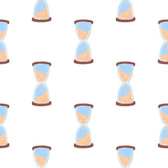 青とベージュの砂時計と抽象的なシームレスパターン