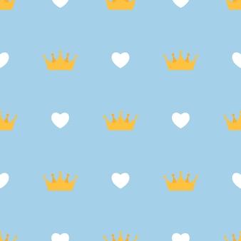 킹 크라운 및 하트 추상 원활한 패턴