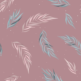 Abstract seamless pattern with leaves.   template.