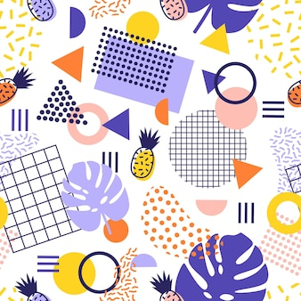 Abstract seamless pattern with lines, geometric shapes, tropical pineapple fruits and exotic leaves on white