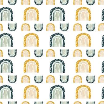 虹のモダンなプリントで抽象的なシームレスパターン。ファブリックプリント壁紙包装紙の背景。自由奔放に生きるスタイル。ベクトルイラスト