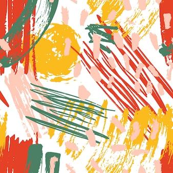 ペイントの染み、ブラシストローク、塗りつぶし、白い背景の落書きと抽象的なシームレスパターン。グランジスタイルの流行のイラスト