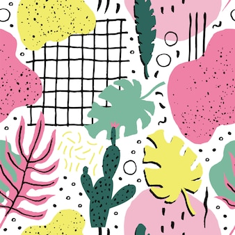 Abstract seamless pattern with plants.