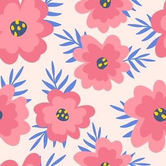 ポピー、花、葉と抽象的なシームレスパターン。