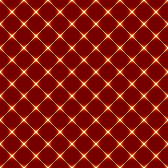 Abstract seamless pattern with red rhombuses and shining gold