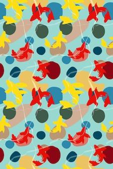 빨간색 노란색 물고기 잉어 잉어 원활한 해양 텍스처와 추상 원활한 패턴