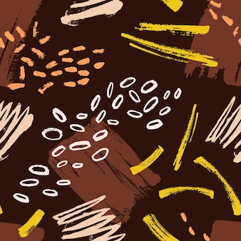 Abstract seamless pattern with stains, smudges, paint traces on brown backgrounds. backdrop with rough brush strokes. vector illustration in contemporary art style for textile print, wrapping paper.