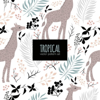 Abstract seamless pattern with sweet giraffe