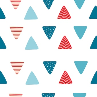 만화 스타일의 삼각형 플래그와 함께 추상 완벽 한 패턴입니다. 어린이 방 디자인, 벽지, 직물, 포장지, 의류를 위한 질감. 벡터 일러스트 레이 션
