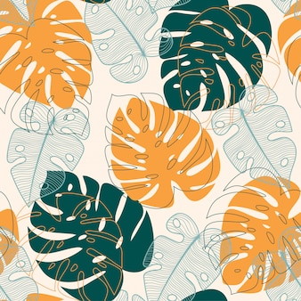 Abstract seamless pattern with tropical leaves