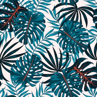 Abstract seamless pattern with tropical plants and leaves