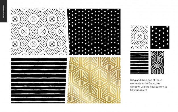 Abstract seamless patterns. geometrical lines, dots and shapes