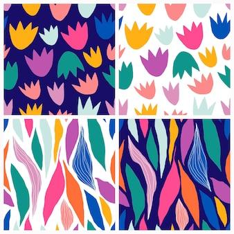 装飾的なモダンなデザインの落書きの形で設定された抽象的なシームレスパターン