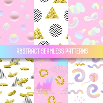 Abstract seamless patterns set with golden elements