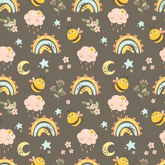 虹と蜂の抽象的なシームレスパターン