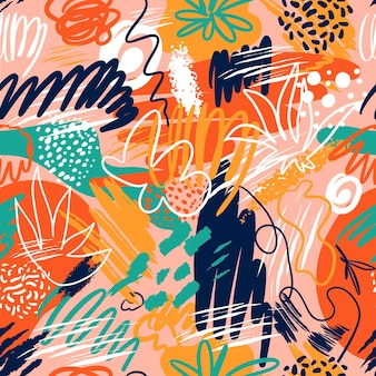 Abstract seamless patterns with hand drawn textures in memphis style, trend.