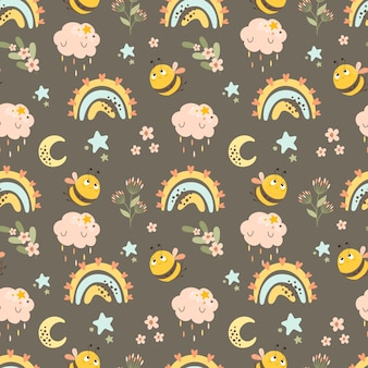 Abstract seamless patterns with a rainbow and bee