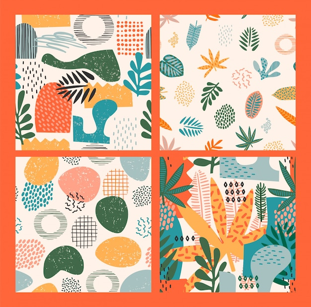 Abstract seamless patterns with tropical leaves and geometric shapes. hand draw texture.