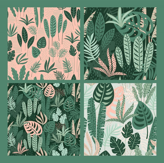 Abstract seamless patterns with tropical leaves.