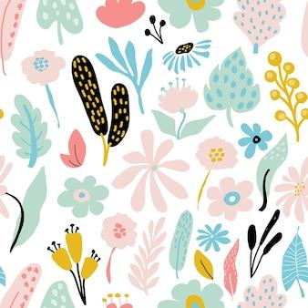 白い背景にパステルカラーの花の要素を持つ抽象的なシームレスな繰り返しパターン。カード、バナー、プリント生地、tシャツのベクトルテンプレート。パステルカラー。