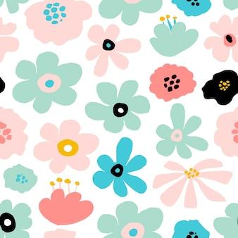 Абстрактный бесшовный повторяющийся узор с цветочными элементами в пастельных тонах на белом фоне. векторный шаблон для карт, баннеров, ткани для печати, футболки. пастельные тона.