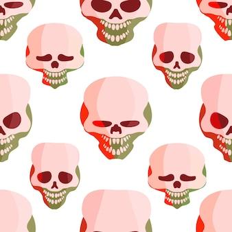 흰색 바탕에 여자 소년 크리에이 티브 벡터 배경에 대 한 추상 원활한 두개골 패턴