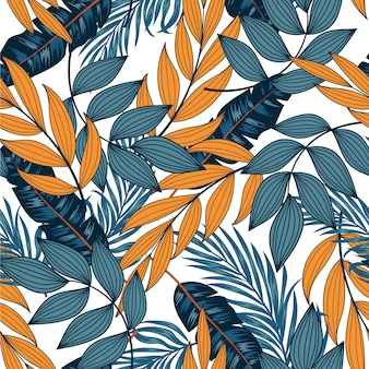 Abstract seamless tropical pattern with bright leaves and plants on a light background