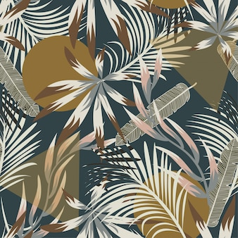 Abstract seamless tropical pattern with bright leaves and plants
