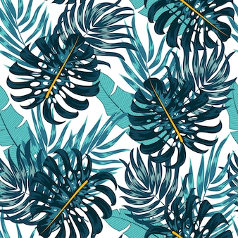 Abstract seamless tropical pattern with bright plants and leaves on a pastel background