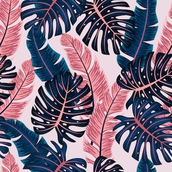 Abstract seamless tropical pattern with bright plants and leaves on a white background