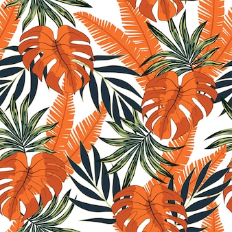 Abstract seamless tropical pattern with bright plants and leaves on a white