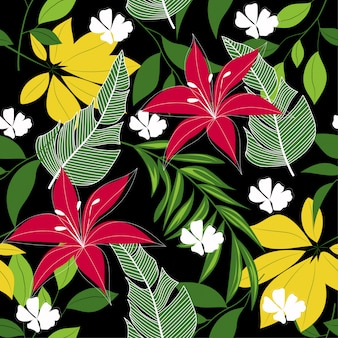 Abstract seamless tropical pattern with colorful leaves, plants and flowers