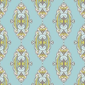 ファブリックの抽象的なシームレスなヴィンテージ高級装飾ベクトルパターン