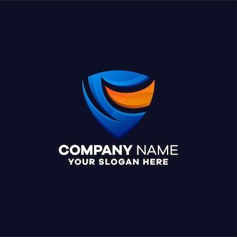 Шаблон логотипа абстрактный градиент безопасности