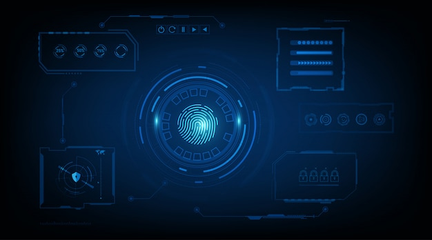 Abstract security system concept with fingerprint on technology background.