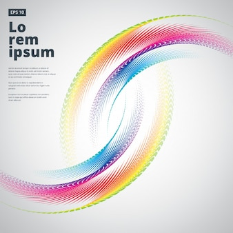 Abstract semicircle curve colorful white background