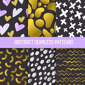 Abstract semless patterns set with gold glitter elements. dark hand drawn backgrounds memphis style for posters, cover, wrapping paper.