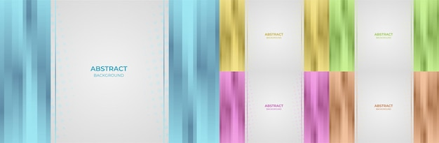 Abstract set geometric gradient color blue, yellow, green, purple and orange background style. vector illustration